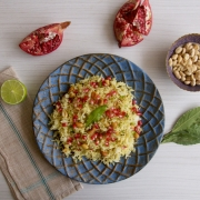 Arroz con limón, maní y granadas (lemon rice with peanuts and pomegranate)