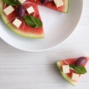 Ensalada griega de queso feta y sandía (patilla)