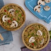 Arroz de coliflor con pimentones, menta y champiñones (veggie cauliflower rice)